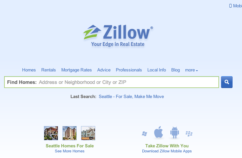 A minimalist agent broker website wireframe for geek build for Zillow site