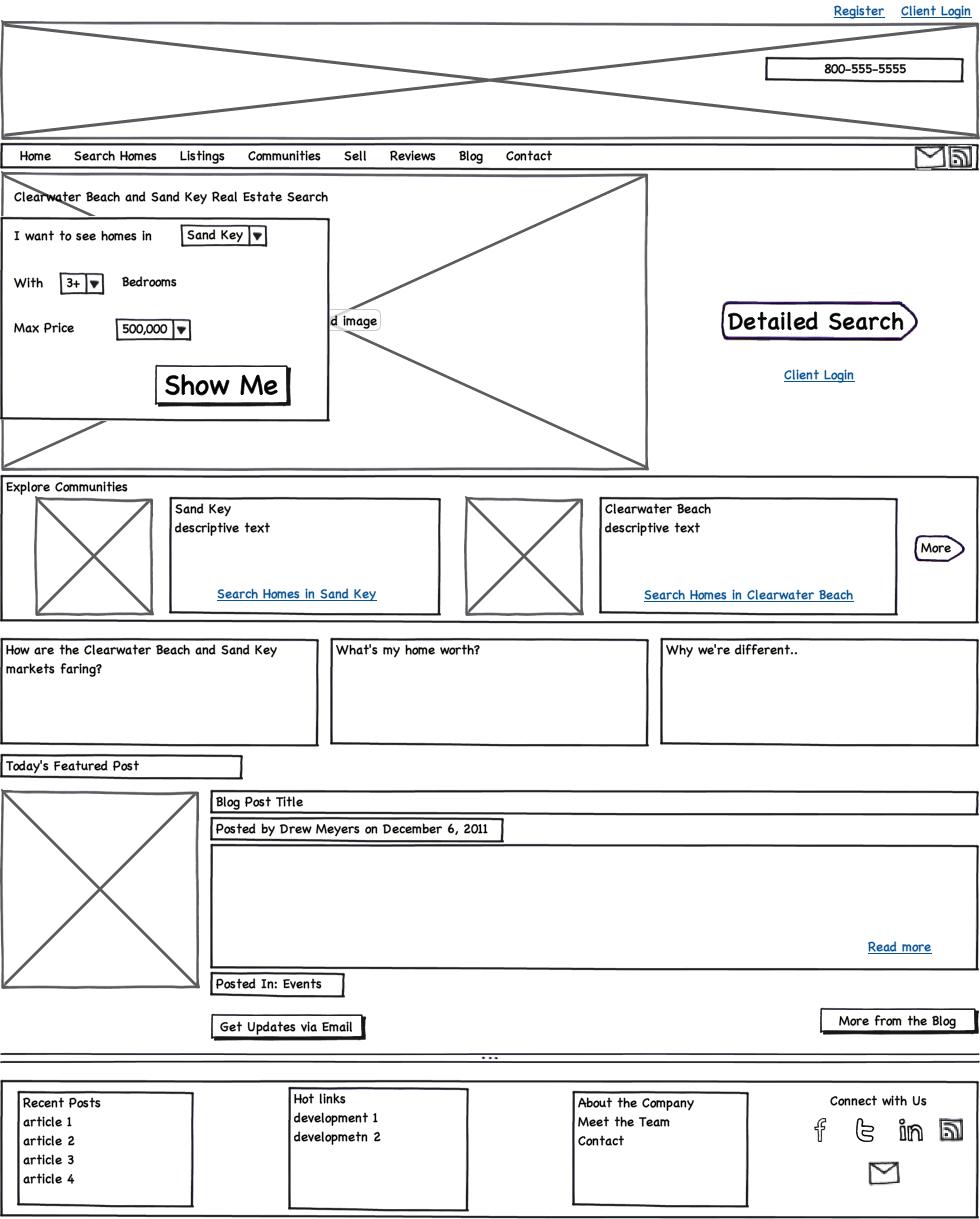 Website Wireframe: A Minimalist Agent/Broker Website Wireframe For Geek Build